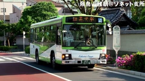 国際興業バス 6021@紅葉橋南バス停。王22系統 王子駅行き。