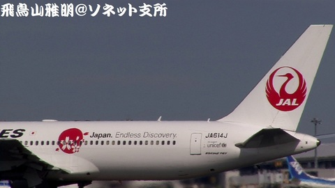 JA614J・機体後方(同)のアップ。鶴丸+「Japan. Endless Discovery.」ロゴ。