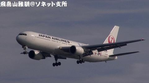 日本航空 JA656J『ドラえもんジェット』@東京国際空港(浮島町公園より)。RWY34Lへのファイナルアプローチ。小松からのJL1276便。