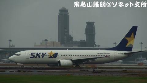 スカイマーク JA737M@成田国際空港。雨上がりのRWY34Lエンドより…。
