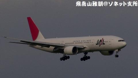 日本航空 JA773J@東京国際空港(京浜島つばさ公園より)。RWY22へのファイナルアプローチ。