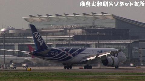 着陸滑走中のJA801A。国際線旅客ターミナルをバックに…。