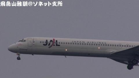 JA8029・機体前方のアップ。機首部分(左舷側)には『17年分の感謝をこめて MD-90 ありがとう』と塗装されておりました。