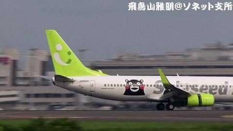 JA802X・機体後方(尾翼+くまモンのラッピング)のアップ。