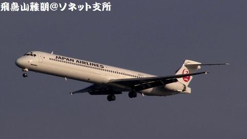 日本航空 JA8070@東京国際空港(浮島町公園より)。RWY34Lへのファイナルアプローチ。