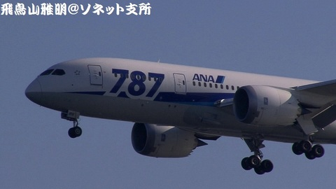 JA816A・機体前方のアップ。相変わらず、『787』のデカロゴが目立ちますね…。