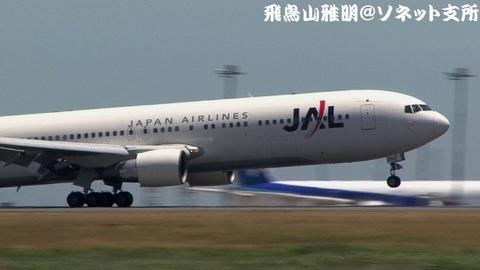 JA8299・機体前方のアップ(タッチダウン直後)。