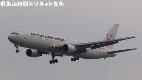 日本航空 JA8364@東京国際空港(浮島町公園より)。RWY34Lへのファイナルアプローチ。