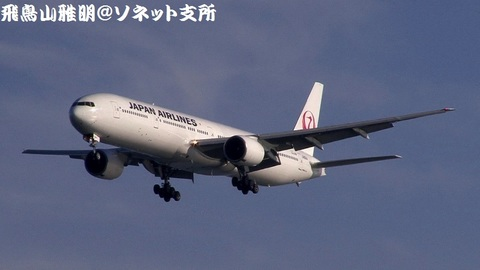日本航空 JA8944@東京国際空港(浮島町公園より)。RWY34Lへのファイナルアプローチ。
