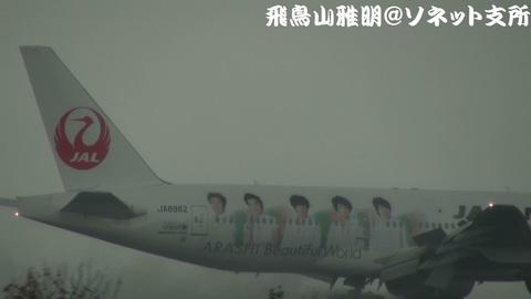 「JAL嵐JET2」機体後部(鶴丸+嵐)のアップ。